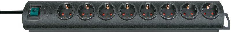 Primera-Line Steckdosenleiste 8-fach schwarz 2m H05VV-F 3G1,5