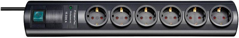 Primera-Tec 19.500A �berspannungsschutz-Steckdosenleiste 6-fach schwarz 2m H05VV-F 3G1,5