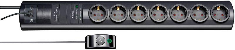 Primera-Tec Comfort Switch Plus 19.500A Überspannungsschutz-Steckdosenleiste 7-fach schwarz 2m H05VV-F 3G1,5 2 permanent, 5 schaltbar