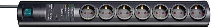 Primera-Tec DigiMaster 19.500A Überspannungsschutz-Steckdosenleiste 7-fach schwarz 2m H05VV-F 3G1,5 2 permanent, 5 schaltbar