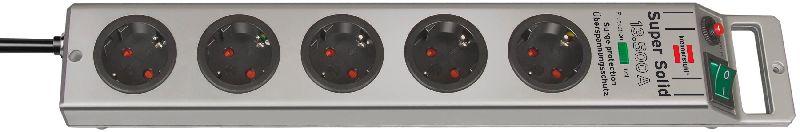 Super-Solid 13.500A Überspannungsschutz-Steckdosenleiste 5-fach silber 2,5m H05VV-F 3G1,5