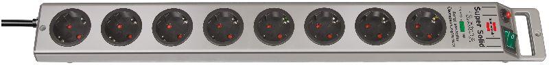 Super-Solid 13.500A Überspannungsschutz-Steckdosenleiste 8-fach silber 2,5m H05VV-F 3G1,5