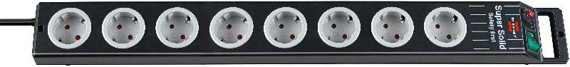 Super-Solid Line Steckdosenleiste 8-fach schwarz/lichtgrau 2,5m H05VV-F 3G1,5
