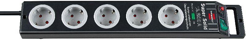 Super-Solid 13.500A Überspannungsschutz-Steckdosenleiste 5-fach schwarz/lichtgrau 2,5m H05VV-F 3G1,5
