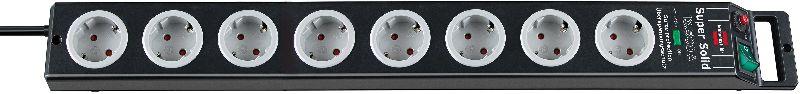 Super-Solid 13.500A �berspannungsschutz-Steckdosenleiste 8-fach schwarz/lichtgrau 2,5m H05VV-F 3G1,5