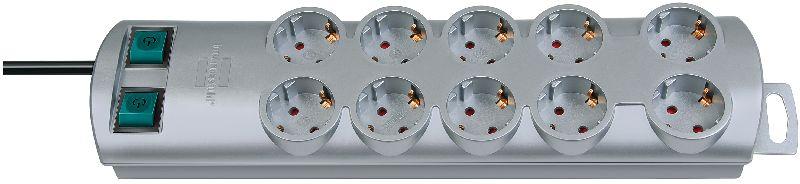 Primera-Line Steckdosenleiste 10-fach silber 2m H05VV-F 3G1,5 5-fach schaltbare Steckdosen