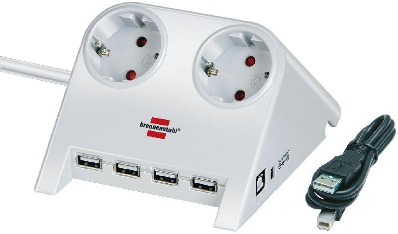 Desktop-Power-Plus mit USB-2.0-Hub mit 5V-Buchse 2-fach wei� 1,8m H05VV-F 3G1,5