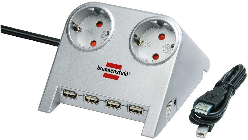 Desktop-Power-Plus mit USB-2.0-Hub mit 5V-Buchse 2-fach silber 1,8m H05VV-F 3G1,5