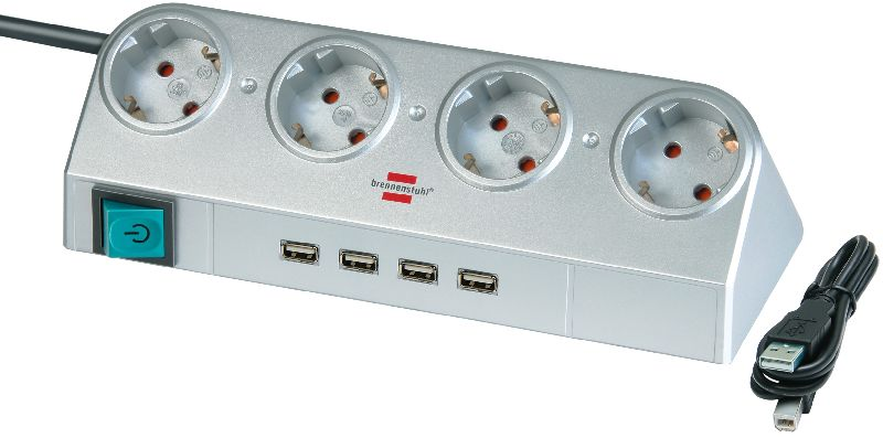 Desktop-Power mit Schalter und USB-Hub 2.0 4-fach silber 1,8m H05VV-F 3G1,5