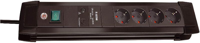 Premium-Line 30.000A Überspannungsschutz-Steckdosenleiste 4-fach schwarz 1,8m H05VV-F 3G1,5