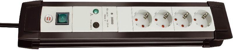 Premium-Line 30.000A Überspannungsschutz-Steckdosenleiste 4-fach schwarz/lichtgrau 1,8m H05VV-F 3G1,5