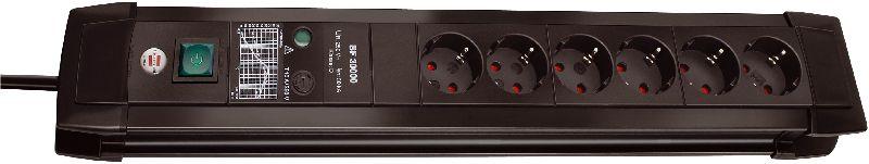 Premium-Line 30.000A �berspannungsschutz-Steckdosenleiste 6-fach schwarz 3m H05VV-F 3G1,5