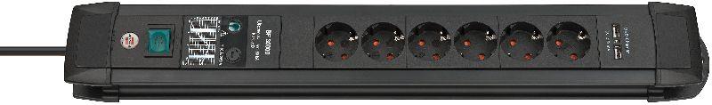 Premium-Line 30.000A Überspannungsschutz-Steckdosenleiste  mit USB-Ladefunktion 6-fach schwarz 3m H05VV-F 3G1,5