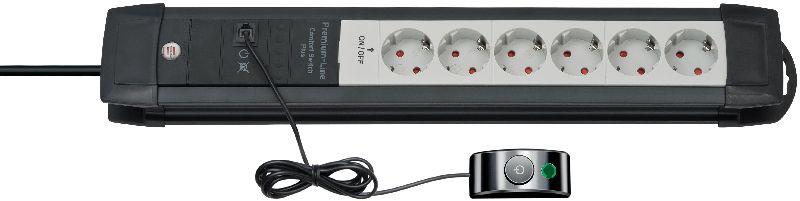 Premium-Line Comfort Switch Plus Steckdosenleiste 6-fach schwarz/lichtgrau 3m H05VV-F 3G1,5
