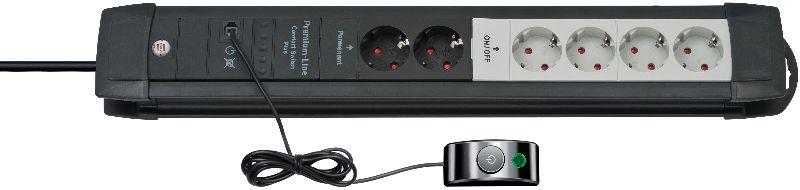 Premium-Line Comfort Switch Plus Steckdosenleiste 6-fach schwarz/lichtgrau 3m H05VV-F 3G1,5 2 permament, 4 schaltbar