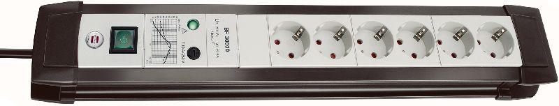 Premium-Line 30.000A Überspannungsschutz-Steckdosenleiste 6-fach schwarz/lichtgrau 3m H05VV-F 3G1,5