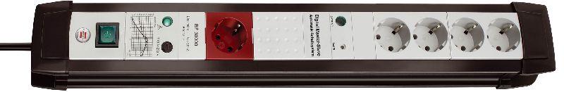 Premium-Line 30.000A Überspannungsschutz-Automatiksteckdosenleiste 5-fach schwarz/lichtgrau 3m H05VV-F 3G1,5 1 Master 4 Slave