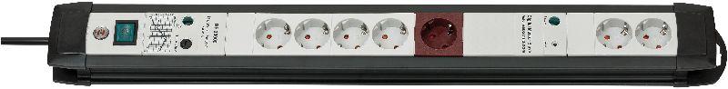 Premium-Line 30.000A Überspannungsschutz-Automatiksteckdosenleiste 7-fach schwarz/lichtgrau 3m H05VV-F 3G1,5 1xMaster 2xSlave 4xPermanent