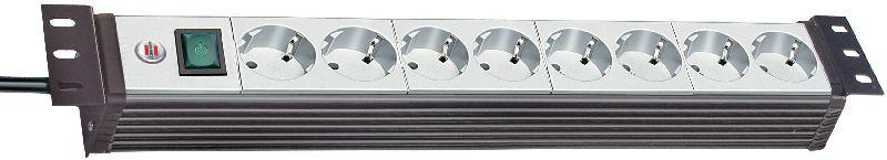 """Premium-Line 19"""" Steckdosenleiste für Schaltschränke 8-fach schwarz/lichtgrau 3m H05VV-F 3G1,5 19""""-Format"""