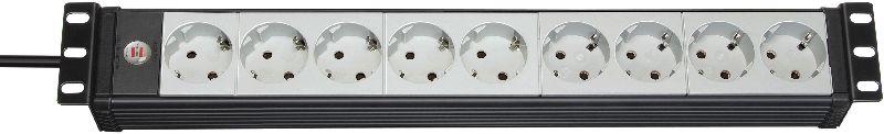 """Premium-Line 19"""" Steckdosenleiste für Schaltschränke 9-fach schwarz/lichtgrau 3m H05VV-F 3G1,5 19""""-Format"""