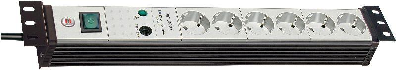 """Premium-Line 30.000A �berspannungsschutz-Steckdosenleiste 6-fach schwarz/lichtgrau 3m H05VV-F 3G1,5 19"""" Format"""