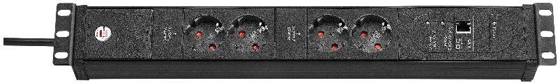Premium-Web-Line Internet-Steckdosenleiste 4-fach schwarz 3m H05VV-F 3G1,5 2xMaster 2xSlave