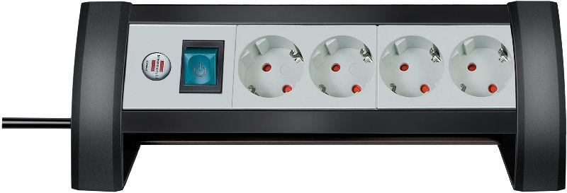 Premium-Office-Line Steckdosenleiste 4-fach schwarz/lichtgrau 1,8m H05VV-F 3G1,5
