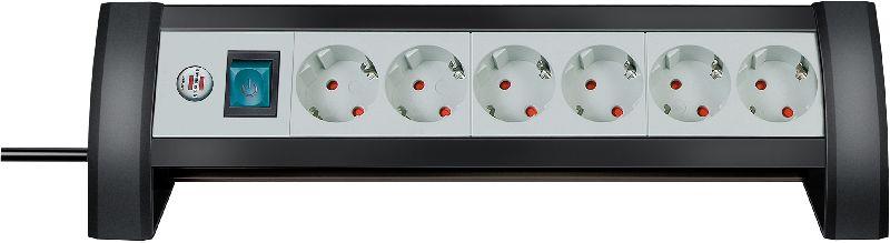 Premium-Office-Line Steckdosenleiste 6-fach schwarz/lichtgrau 3m H05VV-F 3G1,5