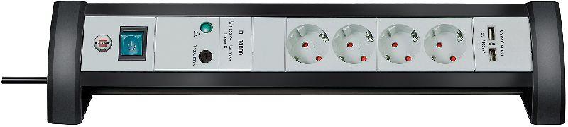 Premium-Office-Line 30.000A �berspannungsschutz-Steckdosenleiste mit USB-Ladefunktion 4-fach 1,8m H05VV-F 3G1,5