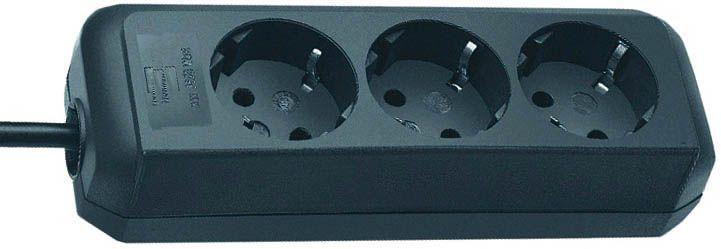 Eco-Line Steckdosenleiste 3-fach schwarz 1,5m H05VV-F 3G1,5  1/Stck  ,Länge:21,000 ,Breite:8,000 ,Hö