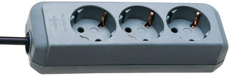 Eco-Line Steckdosenleiste 3-fach silbergrau 1,5m H05VV-F 3G1,5