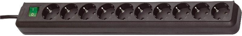 Eco-Line Steckdosenleiste mit Schalter 10-fach schwarz 3m H05VV-F 3G1,5
