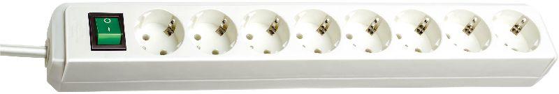 Eco-Line Steckdosenleiste mit Schalter 8-fach wei� 3m H05VV-F 3G1,5