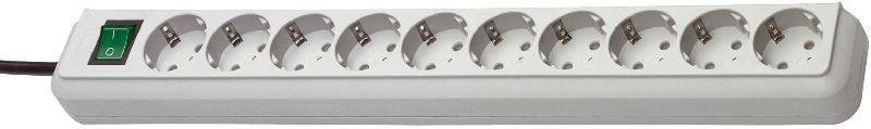 Eco-Line Steckdosenleiste mit Schalter 10-fach lichtgrau 3m H05VV-F 3G1,5