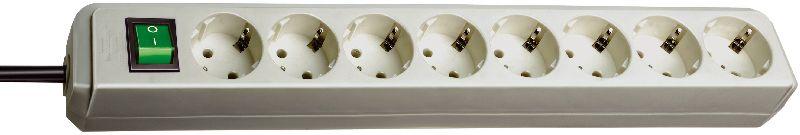 Eco-Line Steckdosenleiste mit Schalter 8-fach lichtgrau 3m H05VV-F 3G1,5