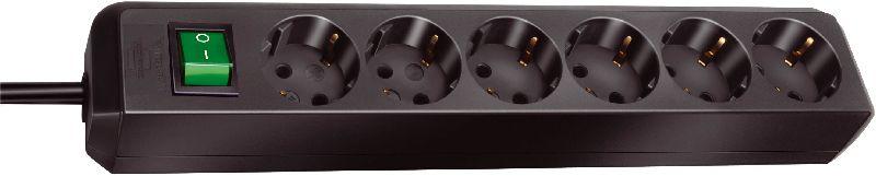 Eco-Line Steckdosenleiste mit Schalter 6-fach schwarz 1,5m H05VV-F 3G1,5