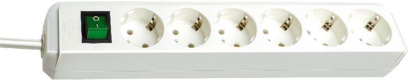 Eco-Line Steckdosenleiste mit Schalter 6-fach weiß 1,5m H05VV-F 3G1,5
