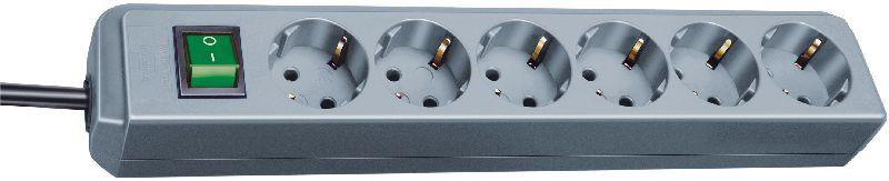 Eco-Line Steckdosenleiste mit Schalter 6-fach silbergrau 1,5m H05VV-F 3G1,5