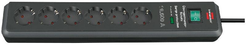 Secure-Tec 19.500A Überspannungsschutz-Steckdosenleiste 6-fach anthrazit 2m H05VV-F 3G1,5