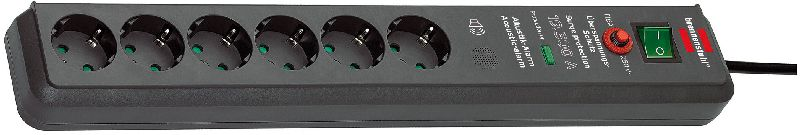 Secure-Tec 19.500A �berspannungsschutz-Steckdosenleiste Akustik 6-fach anthrazit 3m H05VV-F 3G1,5