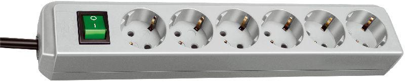 Eco-Line Steckdosenleiste mit Schalter 6-fach lichtgrau 1,5m H05VV-F 3G1,5