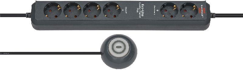 Eco-Line Comfort Switch Plus EL CSP 24 Steckdosenleiste 6-fach anthrazit 1,5m H05VV-F 3G1,5 2 permanent, 4 schaltbar beleuchteter Hand-/Fußschalter