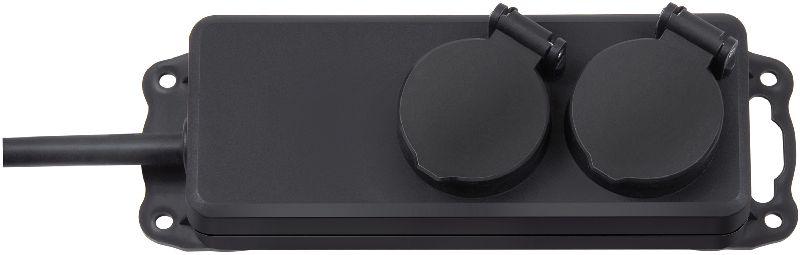 Steckdosenverteiler IP44 2-fach schwarz 2m H07RN-F 3G1,5