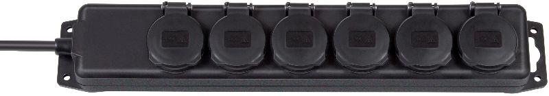 Steckdosenverteiler IP44 6-fach schwarz 2m H07RN-F 3G1,5