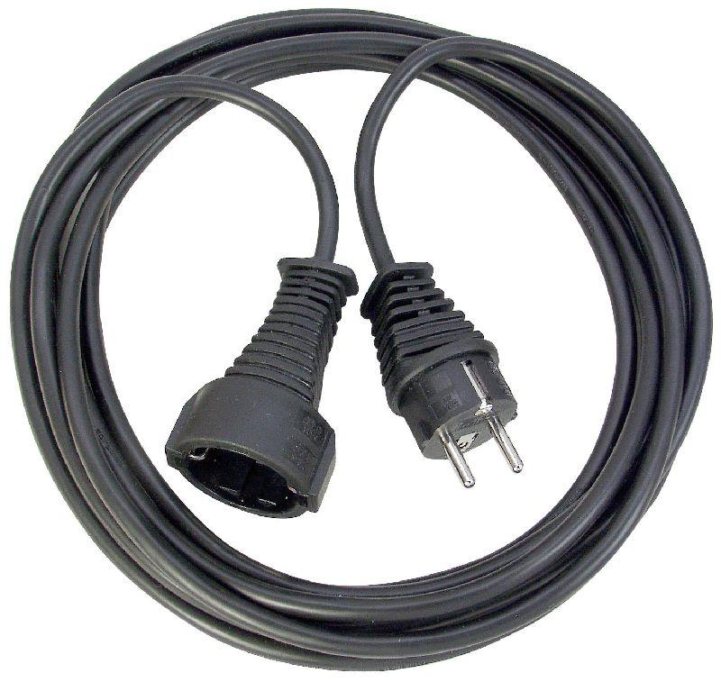 Qualitäts-Kunststoff-Verlängerungskabel 5m schwarz H05VV-F 3G1,5