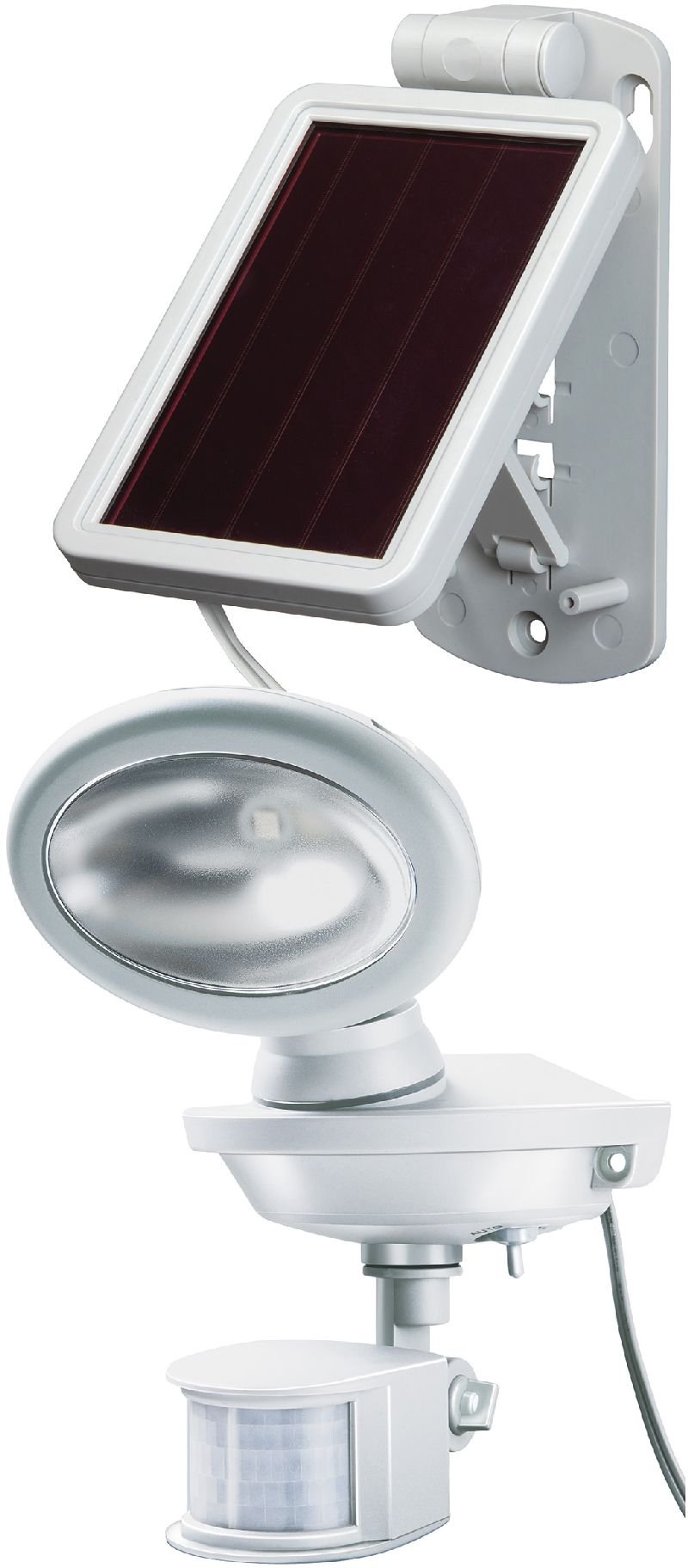 Solar LED-Au�enleuchte SOL 14 plus IP44 mit Infrarot-Bewegungsmelder 2xLED 0,5W 85lm Kabell�nge 3m Farbe Grau-Wei�