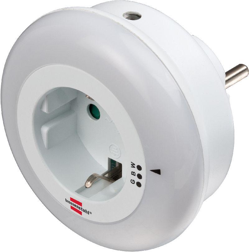 LED-Nachtlicht Color NL 09 RCD mit D�mmerungssensor und Steckdose 9 LED 6lm 3 Farben