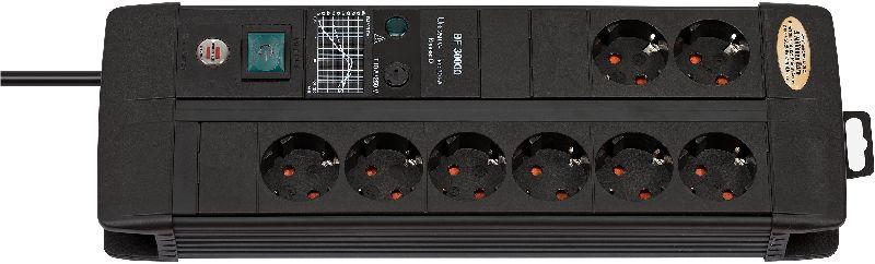 Premium-Line 30.000A Überspannungsschutz-Steckdosenleiste 8-fach Duo schwarz 3m H05VV-F 3G1,5