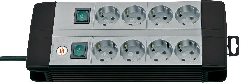 Premium-Line Technik Steckdosenleiste 8-fach Duo schwarz/lichtgrau 3m H05VV-F 3G1,5 4-fach schaltbare Steckdosen