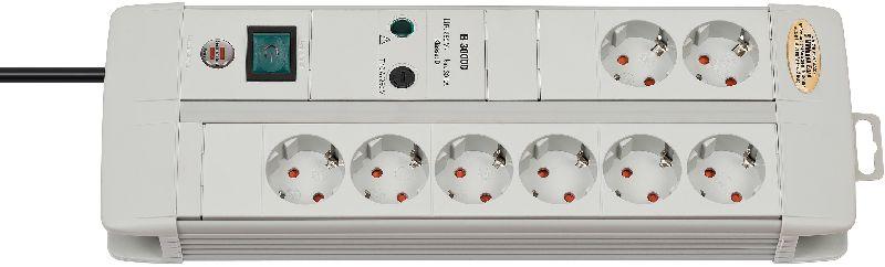 Premium-Line 30.000A Überspannungsschutz-Steckdosenleiste 8-fach Duo lichtgrau 3m H05VV-F 3G1,5  1/S